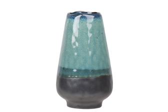 UTC11455 Ceramic Round Bellied Vase with Irregular Mouth, Faded Blue Rim Top and Black Banded Bottom and Base LG Gloss Finish Aquamarine