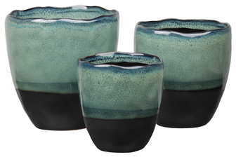 UTC11459 Ceramic Round Pot with Black Irregular Rim Mouth and Black Banded Tapered Bottom Set of Three Gloss Finish Fern