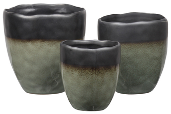 UTC11460 Stoneware Round Pot with Irregular Rim Mouth, Black Banded Top, Speckle Design Body and Tapered Bottom Set of Three Gloss Finish Moss Green
