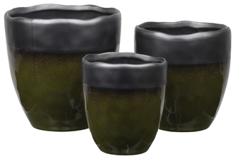 UTC11461 Ceramic Round Pot with Irregular Rim Mouth, Black Banded Top, Speckle Design Body and Tapered Bottom Set of Three Gloss Finish Olive Green