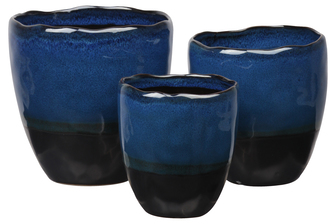 UTC11462 Stoneware Round Pot with Black Irregular Rim Mouth and Black Banded Tapered Bottom Set of Three Gloss Finish Navy Blue
