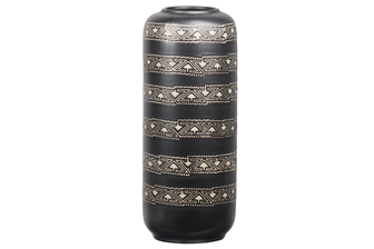 UTC11463 Ceramic Tall Round Vase with Narrow Round Lip and Tribal Banded Pattern Design Body LG Sheen Coated Finish Charcoal