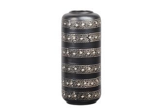 UTC11464 Stoneware Tall Round Vase with Narrow Round Lip and Tribal Banded Pattern Design Body SM Sheen Coated Finish Charcoal