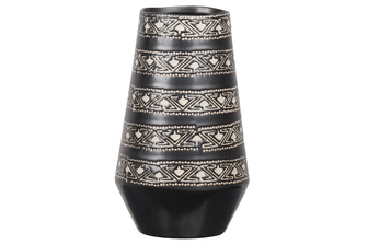 UTC11465 Stoneware Round Vase with Irregular Mouth, Tribal Banded Pattern Design Body and Tapered Bottom Sheen Coated Finish Charcoal