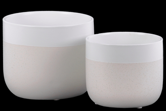 UTC11472 Ceramic Round Pot with Banded White Rim Top, Stipple Design Body and Tapered Bottom Set of Two Matte Finish Cream