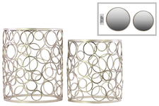 UTC12353 Metal Round Nesting Accent Table with Mirror Top, Ring Leg Design and Round Base Set of Two Metallic Finish Champagne