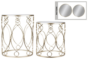 UTC12354 Metal Round Nesting Accent Table with Mirror Top, Ring and Loop Design and Round Base Set of Two Metallic Finish Champagne