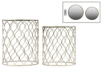 UTC12355 Metal Round Nesting Accent Table with Mirror Top, Intersecting Waves Design and Round Base Set of Two Metallic Finish Champagne