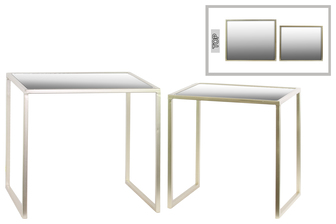 UTC12366 Metal Rectangular Nesting Accent Table with Framed Mirror Top and Square Legs Set of Two Metallic Finish Champagne