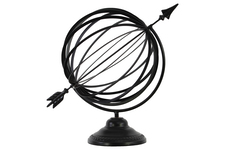 UTC12408 Metal Orb Dyson Sphere with Directional Arrow on Round Stand Coated Finish Black