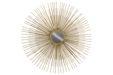 UTC12415 Metal Round Wall Mirror with Sunburst Design Metallic Finish Gold