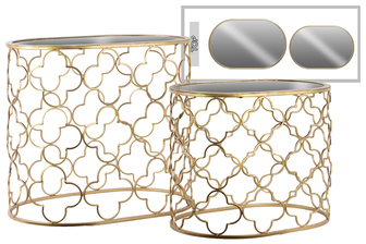 UTC12427 Metal Oval Nesting Accent Table with Mirror Top and Quatrefoil Design Body Set of Two Metallic Finish Gold