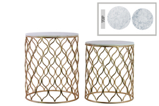 UTC12431 Metal Round Nesting Accent Table with Marble Top and Wave Design Body Set of Two Metallic Finish Champagne