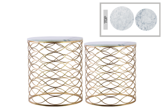 UTC12435 Metal Round Nesting Accent Table with Marble Top and Lattice Wave Design Body Set of Two Metallic Finish Gold