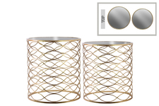 UTC12436 Metal Round Nesting Accent Table with Mirror Top and Lattice Wave Design Body Set of Two Metallic Finish Gold