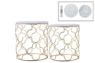 UTC12437 Metal Round Nesting Accent Table with Marble Top and Lattice Quatrefoil Design Body Set of Two Metallic Finish Gold
