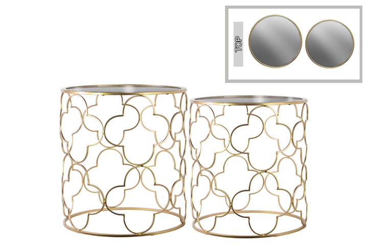 UTC12438 Metal Round Nesting Accent Table with Mirror Top and Lattice Quatrefoil Design Body Set of Two Metallic Finish Gold