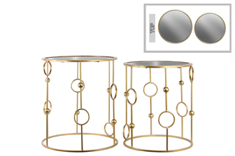 UTC12439 Metal Round Nesting Accent Table with Mirror Top and Circle and Beads Design Body Set of Two Metallic Finish Gold