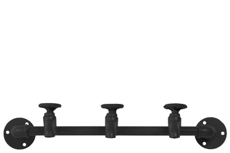 UTC12464 Metal Coat Hanger with Plumbing Theme and 3 Faucet Hooks Matte Finish Black
