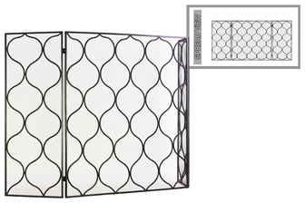 "UTC12476 Metal Hinged Fireplace Screen with ""Traditional Quatrefoil Lattice"" Design Metallic Finish Gunmetal Gray"