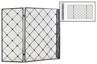 "UTC12478 Metal Hinged Fireplace Screen with ""Diamond Mesh"" Design Metallic Finish Gunmetal Gray"