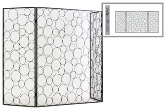 "UTC12479 Metal Hinged Fireplace Screen with ""Random Circle"" Design Metallic Finish Gunmetal Gray"