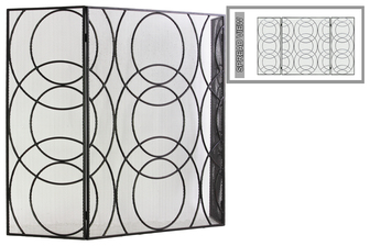 "UTC12480 Metal Hinged Fireplace Screen with ""Circle in Circle"" Design Metallic Finish Gunmetal Gray"