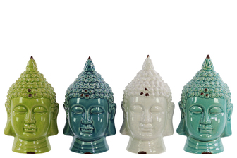 UTC12533-AST Ceramic Buddha Head Assortment of Four Gloss Finish Assorted Color (Turquoise, Cyan, White and Yellow Green)