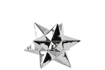 UTC12570 Ceramic 12 Point Stellated Icosahedron Sculpture SM Polished Chrome Finish Silver