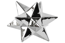 UTC12572 Ceramic 12 Point Stellated Icosahedron Sculpture LG Polished Chrome Finish Silver