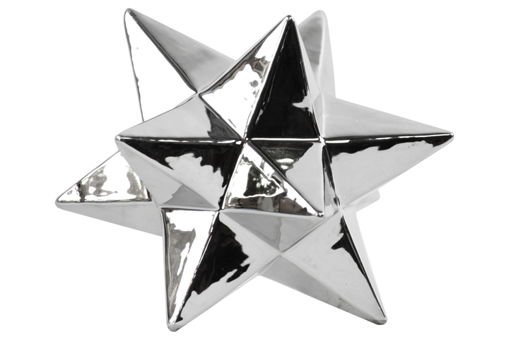 UTC12572 Porcelain 12 Point Stellated Icosahedron Sculpture LG Polished Chrome Finish Silver