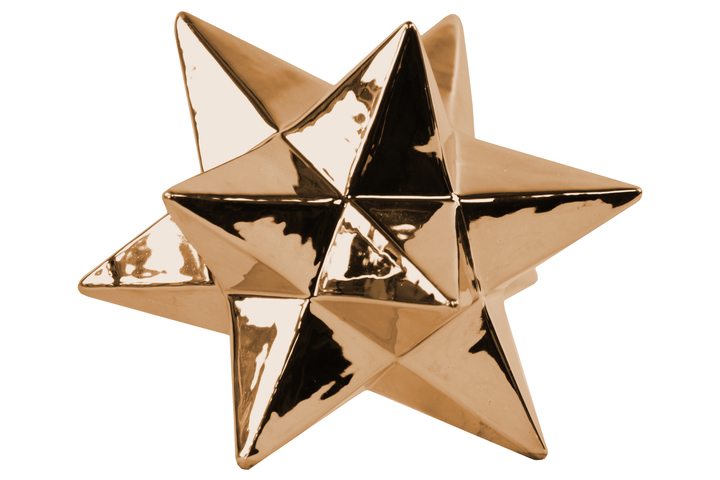 UTC12573 3A/Ceramic 12 Point Stellated Icosahedron Sculpture LG Polished Chrome Finish Copper