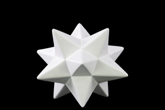 UTC12622 Porcelain 12 Point Stellated Icosahedron Sculpture SM Gloss Finish White