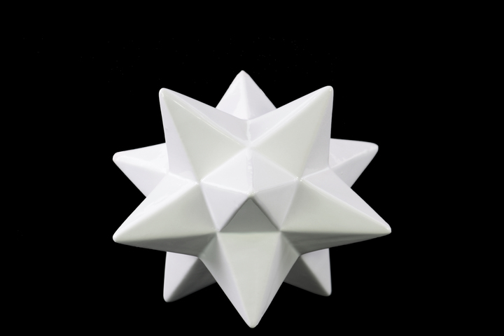 UTC12622 Ceramic 12 Point Stellated Icosahedron Sculpture SM Gloss Finish White