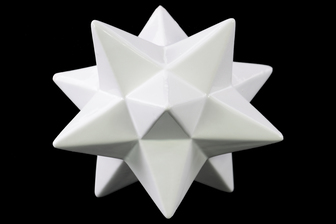 UTC12623 Ceramic 12 Point Stellated Icosahedron Sculpture LG Gloss Finish White