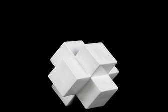 UTC12633 Ceramic Cross Cube Sculpture SM Gloss Finish White
