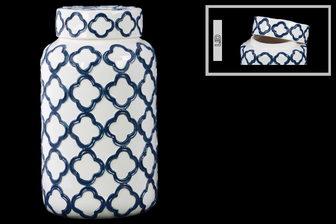 UTC12638 Ceramic Square 180 oz. Canister with Embossed Quatrefoil Design and Lid LG Coated Finish White