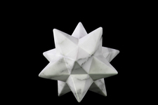 UTC12652 Ceramic 12 Point Stellated Icosahedron Sculpture SM Marbleized with Gray Streaks Gloss Finish White
