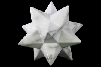 UTC12653 Ceramic 12 Point Stellated Icosahedron Sculpture LG Marbleized with Gray Streaks Gloss Finish White