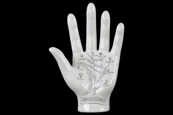 UTC12656 Ceramic Astro Palmistry Hand Sculpture with Printed Labels Gloss Finish White