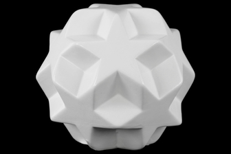 UTC12657 Ceramic Star Ball Figurine Gloss Finish White