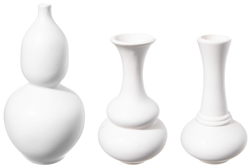 UTC12771 Ceramic Round Bellied Vase with Trumpet Mouth in Different Designs Set of Three Matte Finish White