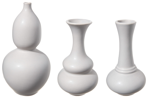 UTC12772 Ceramic Round Bellied Vase with Trumpet Mouth in Different Designs Set of Three Matte Finish Gray