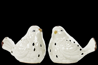 UTC12901-AST Porcelain Bird Figurine with Cutout Design Assortment of Two Distressed Gloss Finish White