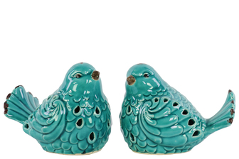 UTC12902-AST Porcelain Bird Figurine with Cutout Design Assortment of Two Distressed Gloss Finish Teal
