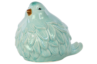 UTC12913 Ceramic Bird Figurine Gloss Finish Sky Cyan