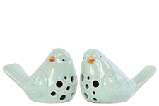 UTC12916-AST Porcelain Bird Figurine with Round Cutout Design Assortment of Two Gloss Finish Sky Blue