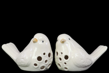 UTC12917-AST Porcelain Bird Figurine with Round Cutout Design Assortment of Two Gloss Finish White