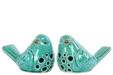 UTC12918-AST Porcelain Bird Figurine with Round Cutout Design Assortment of Two Gloss Finish Teal