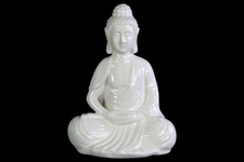 UTC12927 Ceramic Meditating Buddha Figurine with Rounded Ushnisha in Dhyana Mudra Gloss Finish White